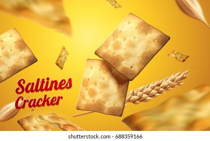 Saltines cracker element, crackers and wheat falling down from sky isolated on yellow background in 3d illustration