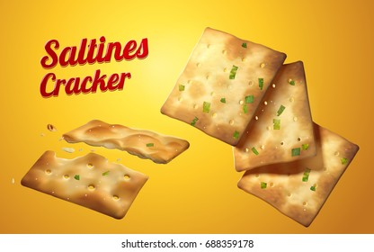 Saltines cracker element, tasty saltines in salty and scallion flavour isolated on yellow background in 3d illustration