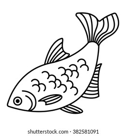 saltwater fish outline drawing vector