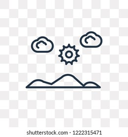 Salty desert vector outline icon isolated on transparent background, high quality linear Salty desert transparency concept can be used web and mobile