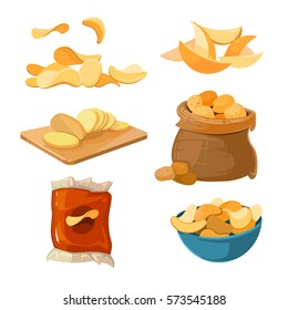 Salty fried potato chips snacks vector set. Delicious and harmful chips. Ilustration of packaging chips
