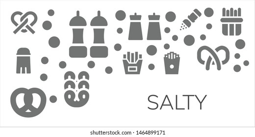 salty icon set. 11 filled salty icons.  Collection Of - Pretzel, Salt, French fries
