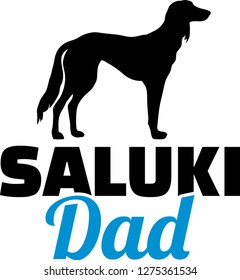 Saluki dog dad silhouette with blue word