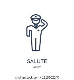 Salute icon. Salute linear symbol design from Army collection.