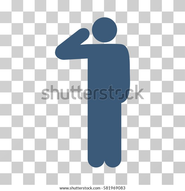 Salute Pose vector pictograph. Illustration style is a flat iconic blue symbol on a transparent background.