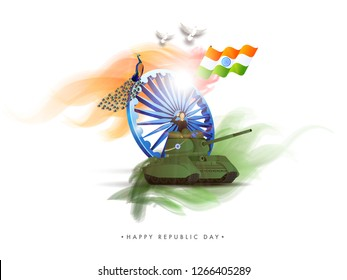 Saluting army officer on military tank with Ashoka Wheel and wavy Indian flag illustration on white background.