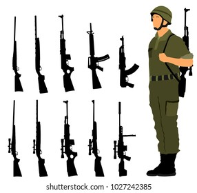 Saluting army soldier with rifle on duty vector (Memorial day, Veteran's day, 4th of july, Independence day )Rifle collection vector silhouette isolated. Sniper rifle, semi automatic, carbine, kalash.
