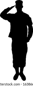 Saluting army soldier's silhouette vector (Memorial day, Veteran's day, 4th of july, Independence day)