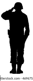 Saluting army soldier's silhouette vector isolated on white background. (Memorial day, Veteran's day, 4th of july, Independence day). Special force member. Foreign legion commander captain.
