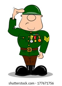 A saluting cartoon soldier in army uniform with medals