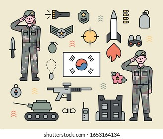 Saluting soldier and army icons. flat design style minimal vector illustration.
