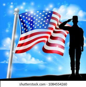 Saluting soldier with a patriotic American flag red, white and blue background graphic design