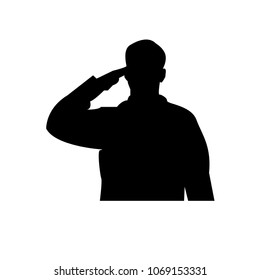 saluting soldier silhouette on white background, in black