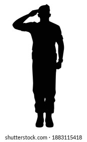 Saluting soldier silhouette vector, military man concept.
