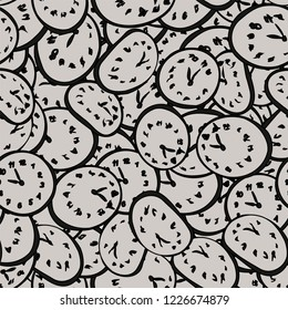 Salvador Dali Clock a seamless abstract pattern. Floating clock print in vintage hand-drawn style. Background with repeating watch. Vector illustration in white and black colors. Perfect for design