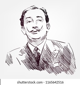 Salvador Dali vector sketch portrait