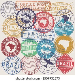 Salvador de Bahia Brazil Set of Stamps. Travel Stamp. Made In Product. Design Seals Old Style Insignia.