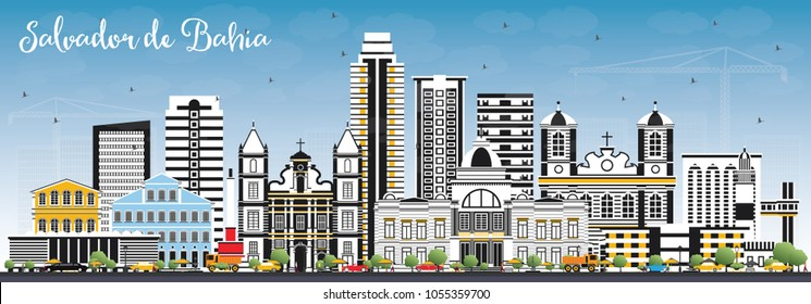 Salvador de Bahia City Skyline with Color Buildings and Blue Sky. Vector Illustration. Business Travel and Tourism Concept with Historic Architecture. Salvador de Bahia Cityscape with Landmarks.