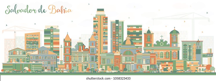 Salvador de Bahia City Skyline with Color Buildings. Vector Illustration. Business Travel and Tourism Concept with Historic Architecture. Salvador de Bahia Cityscape with Landmarks.