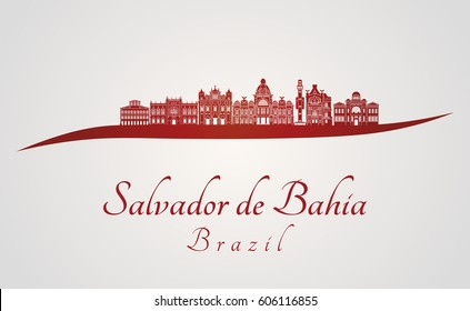 Salvador de Bahia V2 skyline in red and gray background in editable vector file