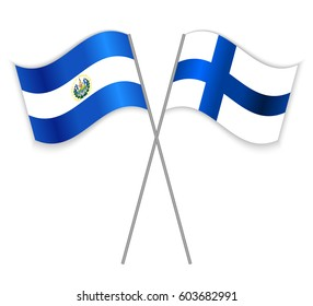 Salvadoran and Finnish crossed flags. El Salvador combined with Finland isolated on white. Language learning, international business or travel concept.