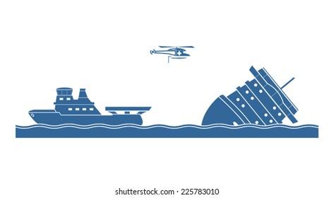 Salvage operation. Vector illustration.