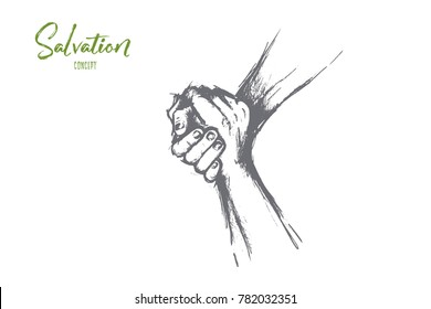 Salvation or volunteers concept. Hand drawn helping hand outstretched for salvation Two hands united in a handshake isolated vector illustration.