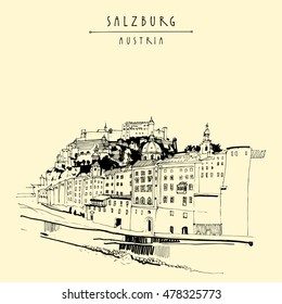 Salzburg, Austria, Europe. Festung Hohensalzburg castle, church, houses,  Salzach river. Hand drawing. Travel sketch. Vintage touristic postcard, poster or book illustration in vector