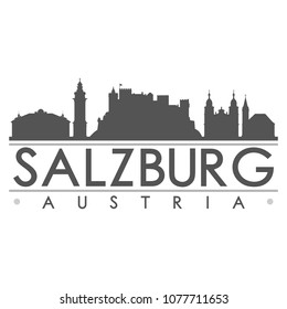 Salzburg Austria Skyline Silhouette Design City Vector Art Famous Buildings