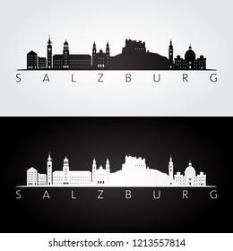 Salzburg skyline and landmarks silhouette, black and white design, vector illustration.