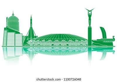 Samara landmarks silhouette. World cup 2018.