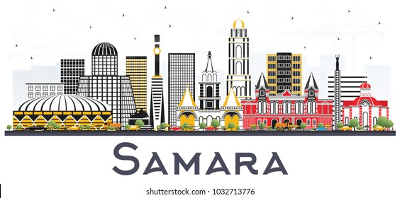 Samara Russia City Skyline with Color Buildings Isolated on White. Vector Illustration. Business Travel and Tourism Concept with Modern Architecture. Samara Cityscape with Landmarks.