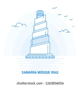 SAMARRA MOSQUE IRAQ Blue Landmark. Creative background and Poster Template