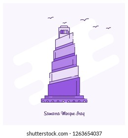 SAMARRA MOSQUE IRAQ Landmark Purple Dotted Line skyline vector illustration