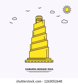 SAMARRA MOSQUE IRAQ Monument Poster Template. World Travel Yellow illustration Background in Line Style with beauture nature Scene
