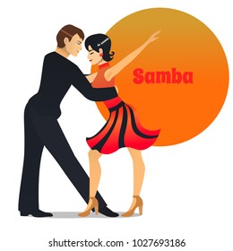 Samba Dancers. Dancing Couple in Cartoon Style for Fliers Posters Banners Prints of Dance School and Studio. Vector Illustration