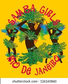 samba girls vector art