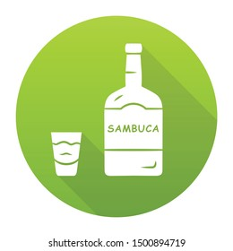 Sambuca green flat design long shadow glyph icon. Bottle and shot glass with drink. Italian anise-flavoured liqueur. Alcoholic beverage consumed for cocktails, straight. Vector silhouette illustration