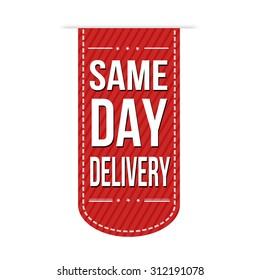 Same day delivery banner design over a white background, vector illustration