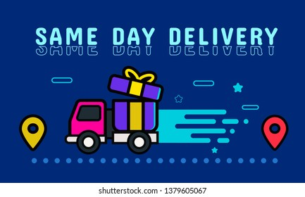 Same day delivery banner, online shopping concept. Vector illustration