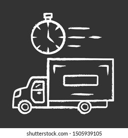 Same day delivery chalk icon. Fast shipping service and postal system. Express delivery truck. Quick parcel transportation. Shipment, courier service. Isolated vector chalkboard illustration