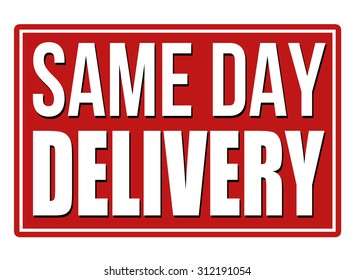 Same day delivery design template on white background, vector illustration