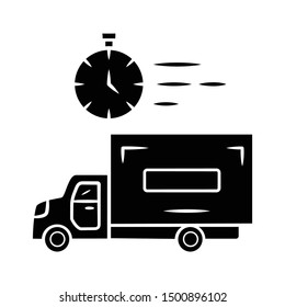 Same day delivery glyph icon. Fast shipping service and postal system. Express delivery truck. Quick parcel transportation. Shipment, courier service. Silhouette symbol. Vector isolated illustration