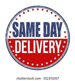 Same day delivery grunge rubber stamp on white background, vector illustration