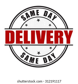 Same day delivery grunge rubber stamp on white background, vector illustration