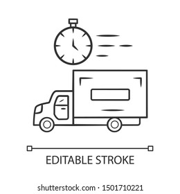 Same day delivery linear icon. Fast shipping service and postal system. Express delivery truck. Quick parcel transportation. Shipment service. Contour symbol. Vector isolated drawing. Editable stroke