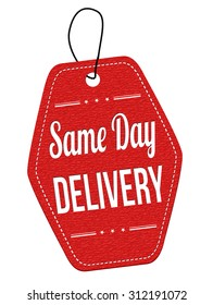 Same day delivery red leather label or price tag on white background, vector illustration