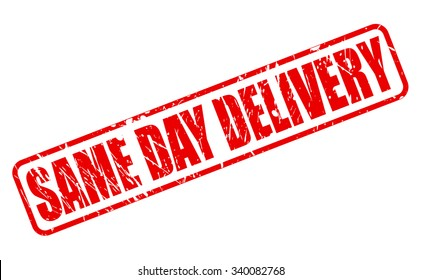 SAME DAY DELIVERY red stamp text on white