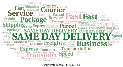 Same Day Delivery word cloud. Wordcloud made with text only.