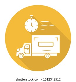 Same day delivery yellow flat design long shadow glyph icon. Fast shipping service and postal system. Delivery truck. Quick parcel transportation. Shipment service. Vector silhouette illustration